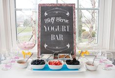 Yogurt bar with toppings, delicious twist on cocktail hour for a morning wedding! We can recreate this for you! http://www.creativeambianceevents.com/ Check out our blog http://www.creativeambianceevents.com/#!blog/c1nl