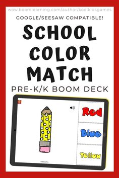 Kids will match the pencil, marker, books, scissors and glue to the correct color or color word. Use these task cards as a fun center to improve math skills in preschool and kindergarten. This digital resource is compatible with google classroom and seesaw and perfect for distance or homeschooling.  #digital #boom #task cards #math #count #number #pre-k #preschool #kindergarten #backtoschool #school #pencil #book #color #match Interactive Learning, Learning Games, Seesaw, Preschool Kindergarten, School Colors, Math Skills, Google Classroom, Business For Kids, Task Cards