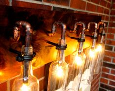 Wine Bottle Light Lamp  Industrial  Vanity  Sconce  by BSquaredInc, $395.00