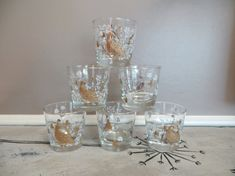Vintage Libbey Lowball Glasses Partridge by VintageShoppingSpree