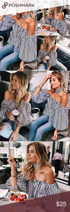 BLACK AND WHITE STRIPED COLD SHOULDER TOP-SIZE MED ♠️THE IT TOP♠️BLACK AND WHITE STRIPED COLD SHOULDER TOP. OFF THE SHOULDER TOP. LANTERN SLEEVES. STRIPE TOP. COMES WITH THE CHOKER BUT THE CHOKER IS VERY LONG AND WOULD NEED TO ALTERED AND PROBABLY CUT TO FIT. THE SIZE IS AN 8 WHICH IS EQUIVALENT TO A U.S. SIZE MED FOR THIS TOP. SEE THE SIZING CHART UNDER SIZE US 8 FOR MEASUREMENTS. COTTON BLEND. LOOKS GREAT WITH BLACK DENIM DISTRESSED JEANS AND THE BLACK SEAD BEAD TASSEL EARRINGS IN OUR…