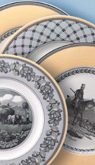 Kiira LOVES this dinnerware style. It's Villeroy & Boch, Audun Chasse, Auden Ferme, Auden Fleur, and Auden Promenade. You can mix and match them! Equestrian Decor, Lodge Style, Plates On Wall, Plate Wall, Town And Country, China Patterns, Porcelain Ceramics, China Dinnerware, Beautiful Kitchens