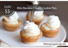 Mini Banana Cream Pies with Sugar Cookie Crust