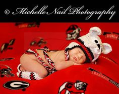 Newborn Photo Idea . . . UGA Baby . . . Pouty Bulldog . . . Go Dawgs!