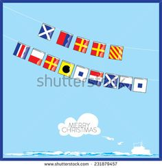 A vector set of Nautical flags with letters of Merry Christmas - stock vector  #shutterstock #vector #graphic #illustration #nautical #flags #marine #boat