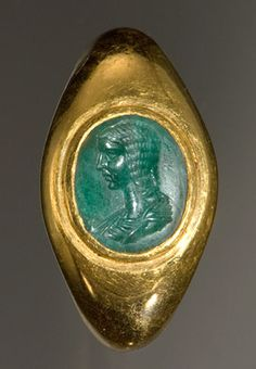 Roman gold finger ring, above, set with an emerald, almost certainly from Egypt, engraved with the portrait of a member of the Severan dynasty, either the Empress Julia Domna (d. 217 C.E.) or the Princess Plautilla (d. 212 C.E.)