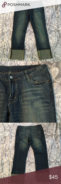 """New Listing! Citizens of Humanity Boho stretch Berlin Blue Citizens of Humanity in Boho stretch 111- cuffed low waist bootcut jeans. Size 28- slightly distressed with whispering detail. Inseam is 24.5"""" and Leg opening is 6.5"""" with 7"""" rise. Excellent condition. Citizens of Humanity Jeans"""