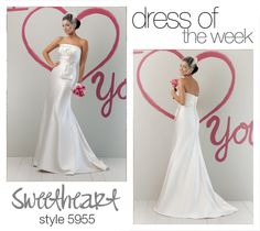 Our Dress Of The Week is style 5955. This regal satin strapless wedding gown has an envelop pleated bodice with a gathered empire band.    #weddingdress #dress #wedding #bride #love #beautiful