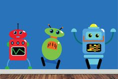Childrens Wall Decal  Robots Childrens Wall by StudioWallStickers, $72.00