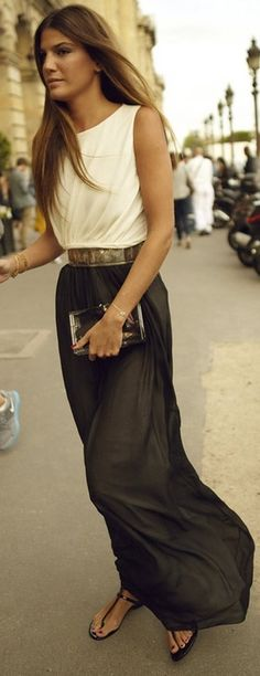 I think this is a dress, but a white top tucked into a grey maxi skirt with a belt would have the same effect.