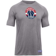 Under Armour Washington Wizards Nba Men's Primary Logo T-Shirt ($35) ❤ liked on Polyvore featuring men's fashion, men's clothing, men's shirts, men's t-shirts, heather gray, mens summer shirts, under armour mens shirts, mens t shirts, mens summer t shirts and mens double layer t shirt