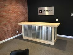 8 foot corrugated metal bar, sales counter, reception desk by BuyfooBARS on Etsy https://www.etsy.com/listing/287230389/8-foot-corrugated-metal-bar-sales