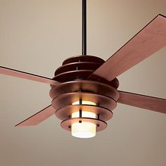 "52"" Modern Fan Stella Mahogany-Bronze Ceiling Fan with Light"