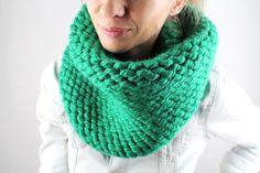 Schlauchschal snuud, smaragdgrün, Grobstrick, Loop