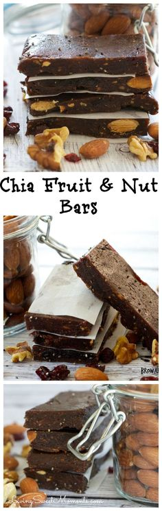 Chia Fruit And Nut Bars - All natural bars made in seconds! Healthy, Vegan, Vegetarian, Dairy Free So delicious and kid friendly too!