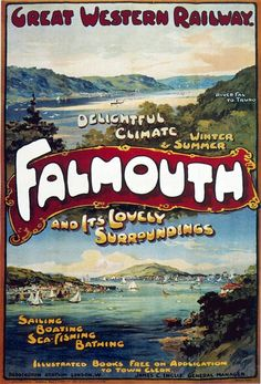 Great Western Railway Falmouth Cornwall travel poster.