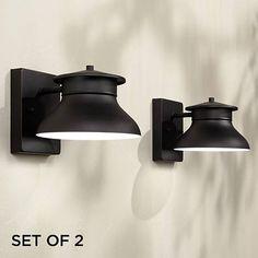 "Set of 2 Danbury LED Black 5"" High Outdoor Wall Lights - #1N891 | Lamps Plus"