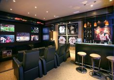 sports-bar-home-theater-contemporary-with-multiple-tvs-home-theater
