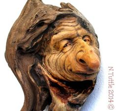 TREE CARVING ORIGINAL WOOD SPIRIT TROLL MYTHICAL HOBBIT SCHNOZ OOAK NANCY TUTTLE -- Schnoz, lol