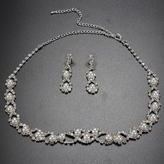 Silver Bride Crystal Rhinestones Pearl Necklace Earrings Jewelry Set