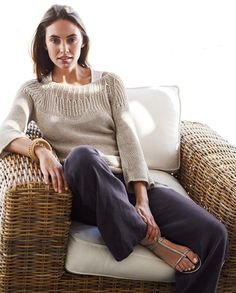 Poetry - Stitch Detail Linen Knit - A heavy gauge open-knit sweater in a beautiful linen yarn with a subtle marled colour and lustre. With intricate stitch detailing around the wide scoop neck, three-quarter length sleeves and rolled edge hems.