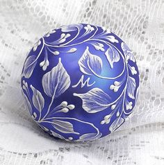 Blue Purple Hand Painted White MUD Texture by MargotTheMUDLady