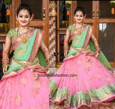 Designer Half Saree by Aurum Studio – South India Fashion Half Saree Designs, Lehenga Designs, Saree Blouse Designs, Half Saree Lehenga, Saree Dress, Kids Lehenga, Kids Saree, Lehenga Blouse, Bridal Lehenga