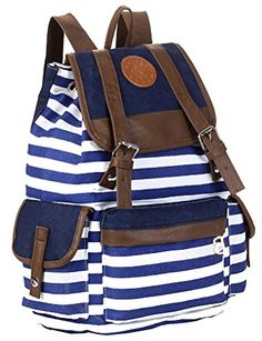 Unisex Fashionable Canvas Backpack School Bag Super Cute Stripe School College Laptop Bag for Teens Girls Boys Students - Blue Stripe Modovo http://www.amazon.com/dp/B00EMSVG54/ref=cm_sw_r_pi_dp_7jmavb0T8FNC3