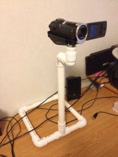 "3/4 in PVC pipe camcorder ""tripod."" Total cost: $14"