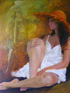 Artist: Yves Thos (b. oil on panel {contemporary figurative art female seated woman cropped painting} Woman Painting, Figure Painting, Painting & Drawing, Contemporary Artists, Modern Art, Jean Gabin, Delon, Portraits, Realistic Paintings