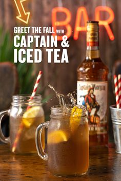 The leaves are about to change but the tea leaves are staying in your drink. Captain & Iced Tea is—quite literally—everyone's cup of tea. HOW TO MAKE (Serves Mix ounces of Captain Morgan Original Spiced Rum with 3 ounces of Iced Tea. GARNISH with lemons. Cocktail Drinks, Cocktail Recipes, Alcoholic Drinks, Cocktails, Beverages, Spiced Rum Drinks, Yummy Drinks, Captain Morgan Drinks, Just Over The Top