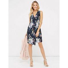 Buy Oasis Botanical Bouquet Silk Dress, Multi/Blue Online at johnlewis.com