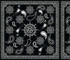 Supernatural Bandana OMG designed to fit on 1 fat quarter - 1 yard = 4 repeats. $17.50 for the yard or 10.50 for the fat quarter.