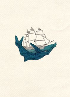 Whale Print - Boat Print - A4 Print - Illustration Print - Art Print - Nautical Print. $25.00, via Etsy.
