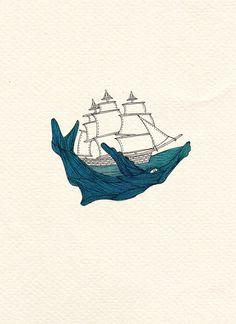 Whale Print -  Boat Print - A4 Print - Illustration Print - Art Print - Nautical Print. $25.00, via Etsy.