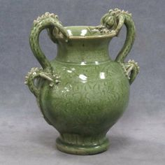 """CHINESE CARVED PORCELAIN CELADON VASE WITH DRAGON HANDLES, MING/CHING. HEIGHT 13 1/4"""""""