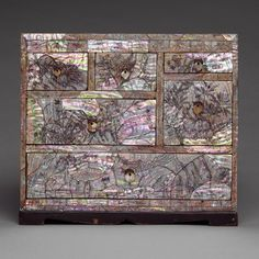 Chest of drawers with floral decoration, Joseon dynasty (1392–1910), late 19th century Korea Lacquer with mother-of-pearl#DecorativeKoreanArt