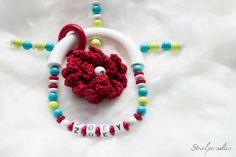 Greifling mit Namen - Blume --006 von Strickparadies auf Etsy
