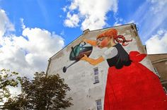 The Legend of Giants: Mural by Polish artist and graphic designer Natalia Rak that was painted as part of the Folk on the Street art festival in Białystok, Poland. Graffiti Murals, Murals Street Art, Brainstorm, Conceptual Drawing, Ghost In The Machine, London Tattoo, Street Art Photography, Colossal Art, Guache