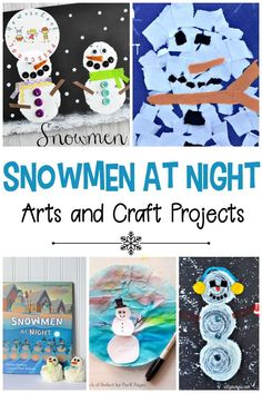 These cute Snowmen at Night crafts and art projects will be perfect for a winter afternoon activity. You'll find cute art projects for all different ages. #preschool #homeschooling #artprojectsforkids #snowmenatnight #craftsforkids #wintercrafts   https://homeschoolpreschool.net/snowmen-at-night-crafts/