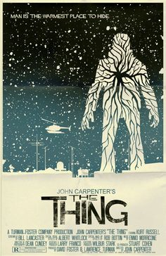 Scientists in the Antarctic are confronted by a shape-shifting alien that assumes the appearance of the people that it kills #TheThing