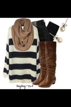 Interesting combo -brown boots black white stripe sweater black jeans brown scarf