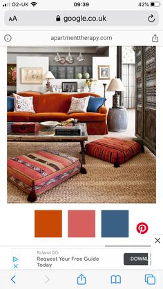 Blue And Orange Living Room, Bedroom Orange, Living Room Red, Bedroom Red, Living Room Colors, Living Room Sofa, Home And Living, Living Room Designs, Living Room Decor