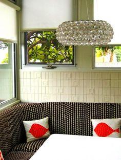 LOVE this light fixture - angela adams Manfred tile. Kitchen designed by Gillian Lefkowitz. Photo: Colorado Homes Corner Seating, Corner Bench, Dining Room Inspiration, Interior Inspiration, Design Your Bedroom, L Shaped Kitchen, Kitchen Benches, Interior Decorating, Interior Design
