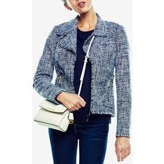 Michael Michael Kors Petite Tweed Fringe Jacket (10,575 MKD) ❤ liked on  Polyvore featuring