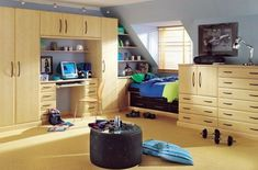 Teens Room, Full Wooden Bed Room Cabinets Shelves Book Case Curtain Chair Brown Carpet Fur Rug Table Glass Window Lighting Desk Lamp Monitor Barble Boys Bedroom Ideas Teenage Boy Room Theme Rooms Design: Amusing, 25 Room Designs for Teenage Boys Boys Room Design, Boys Room Decor, Home Decor Bedroom, Boy Room, Kids Bedroom, Bedroom Ideas, Boy Bedrooms, Teenage Bedrooms, Bedroom Furniture