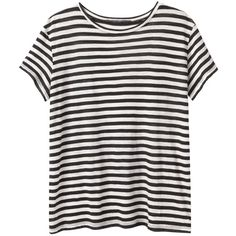 Proenza Schouler Stripe Tee ($245) ❤ liked on Polyvore featuring tops, t-shirts, shirts, tees, crew neck t shirt, black striped shirt, striped tee, t shirts and striped t shirt