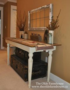 Rustic table and old window