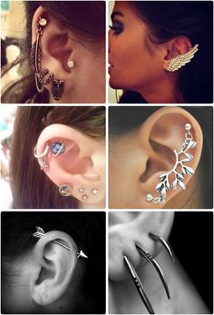 i want more ear cuffs! especially like the top left to put in my cartilage