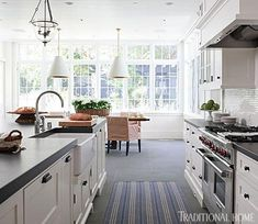 A galley kitchen that doesn't feel claustrophobic. Traditional Home®